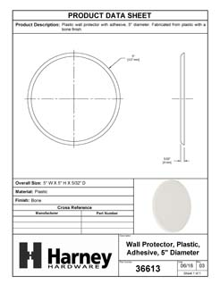 Product Data Specification Sheet Of A Door Knob Wall Protector With Adhesive Backing, 5 In. Diameter - Beige Finish - Product Number 36613