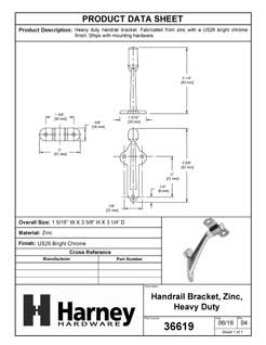 Product Data Specification Sheet Of A Handrail Bracket, Heavy Duty - Chrome Finish - Product Number 36619