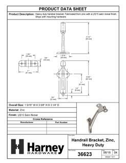Product Data Specification Sheet Of A Handrail Bracket, Heavy Duty - Satin Nickel Finish - Product Number 36623