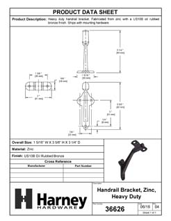 Product Data Specification Sheet Of A Handrail Bracket, Heavy Duty - Oil Rubbed Bronze Finish - Product Number 36626