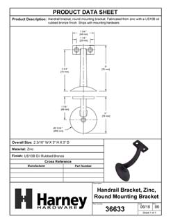Product Data Specification Sheet Of A Handrail Bracket, Heavy Duty, Round Wall Mounting Escutcheon, One Wall Mounting Screw - Oil Rubbed Bronze Finish - Product Number 36633
