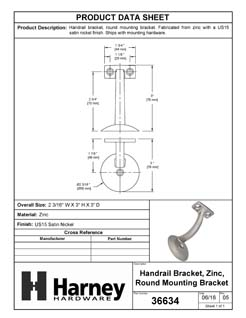Product Data Specification Sheet Of A Handrail Bracket, Heavy Duty - Satin Nickel Finish - Product Number 36634