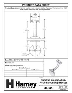 Product Data Specification Sheet Of A Handrail Bracket, Heavy Duty, Round Wall Mounting Escutcheon, One Wall Mounting Screw - Chrome Finish - Product Number 36635