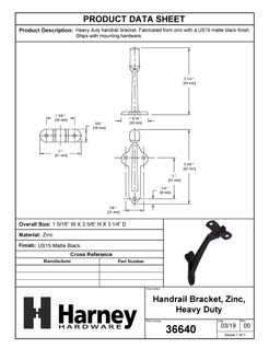 Product Data Specification Sheet Of A Handrail Bracket, Heavy Duty - Matte Black Finish - Product Number 36640