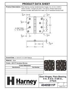 Product Data Specification Sheet Of A Door Hinges, Plain Bearing, 4 In. X 4 In. X 5/8 In. Radius, 2 Pack - Venetian Bronze Finish - Product Number 40405811P