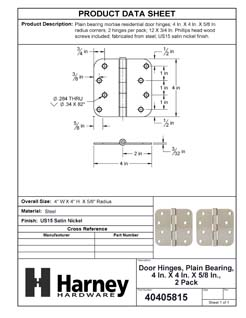 Product Data Specification Sheet Of A Door Hinges, Plain Bearing, 4 In. X 4 In. X 5/8 In. Radius, 2 Pack - Satin Nickel Finish - Product Number 40405815