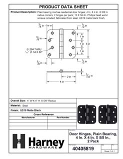 Product Data Specification Sheet Of A Door Hinges, Plain Bearing, 4 In. X 4 In. X 5/8 In. Radius, 2 Pack - Matte Black Finish - Product Number 40405819