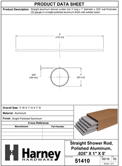 Product Data Specification Sheet Of A Aluminum Shower Rods, .025 In. X 1 In. X 5 Ft., 50 Pack - Chrome Finish - Product Number 51410