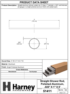 Product Data Specification Sheet Of A Aluminum Shower Rods, .025 In. X 1 In. X 5 Ft., 12 Pack - Chrome Finish - Product Number 51411
