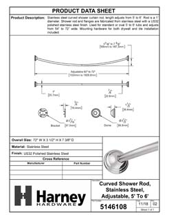 Product Data Specification Sheet Of A Curved Shower Rod, Stainless Steel, Adjustable Length 5 To 6 Ft. - Polished Stainless Steel Finish - Product Number 5146108