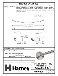Product Data Specification Sheet Of A Curved Shower Rod, Stainless Steel, Adjustable Length 5 To 6 Ft. - Satin Stainless Steel Finish - Product Number 5146208