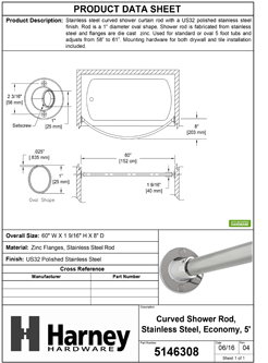Product Data Specification Sheet Of A Curved Shower Rod, Stainless Steel, Fixed Length 5 Ft. - Polished Stainless Steel Finish - Product Number 5146308