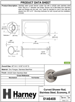Product Data Specification Sheet Of A Curved Shower Rod, Stainless Steel, Fixed Length 5 Ft. - Satin Stainless Steel Finish - Product Number 5146408