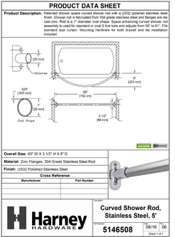 Product Data Specification Sheet Of A Curved Shower Rod, Stainless Steel, Fixed Length 5 Ft. - Polished Stainless Steel Finish - Product Number 5146508