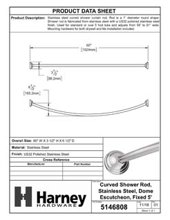Product Data Specification Sheet Of A Curved Shower Rod, Stainless Steel, Fixed Length 5 Ft. - Polished Stainless Steel Finish - Product Number 5146808