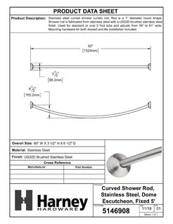 Product Data Specification Sheet Of A Curved Shower Rod, Stainless Steel, Fixed Length 5 Ft. - Satin Stainless Steel Finish - Product Number 5146908