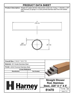 Product Data Specification Sheet Of A Stainless Steel Shower Rods, .025 In. X 1 In. X 5 Ft., 12 Pack - Polished Stainless Steel Finish - Product Number 51470