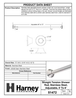 Product Data Specification Sheet Of A Adjustable Tension Shower Rod, Stainless Steel, Adjustable Length 44 To 72 inches, Round Escutcheon - Satin Stainless Steel Finish - Product Number 51472