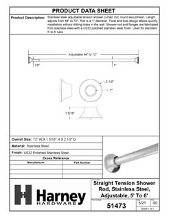 Product Data Specification Sheet Of A Adjustable Tension Shower Rod, Stainless Steel, Adjustable Length 44 To 72 inches, Round Escutcheon - Polished Stainless Steel Finish - Product Number 51473