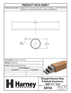Product Data Specification Sheet Of A Aluminum Shower Rods, .025 In. X 1 In. X 6 Ft., 12 Pack - Chrome Finish - Product Number 52734