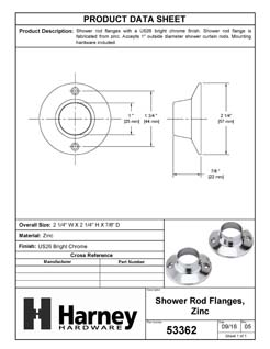 Product Data Specification Sheet Of A Shower Rod Mounting Brackets, Die Cast Zinc, Pair Packed - Chrome Finish - Product Number 53362