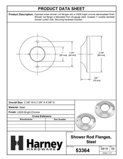 Product Data Specification Sheet Of A Shower Rod Mounting Brackets, Steel, Pair Packed - Chrome Finish - Product Number 53364