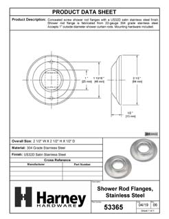 Product Data Specification Sheet Of A Shower Rod Mounting Brackets, Stainless Steel, Pair Packed - Satin Stainless Steel Finish - Product Number 53365