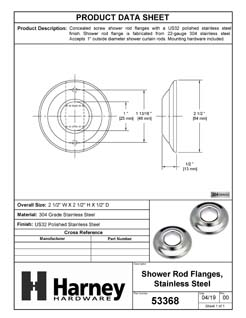 Product Data Specification Sheet Of A Shower Rod Mounting Brackets, Stainless Steel, Pair Packed - Polished Stainless Steel Finish - Product Number 53368