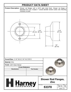 Product Data Specification Sheet Of A Shower Rod Mounting Brackets, Die Cast Zinc, Pair Packed - Satin Nickel Finish - Product Number 53370