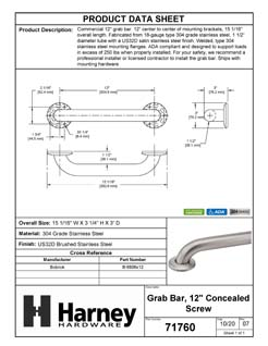 Product Data Specification Sheet Of A Bathroom Grab Bar, 12 In. X 1 1/2 In. - Satin Stainless Steel Finish - Product Number 71760