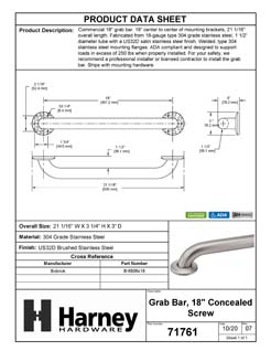 Product Data Specification Sheet Of A Bathroom Grab Bar, 18 In. X 1 1/2 In. - Satin Stainless Steel Finish - Product Number 71761