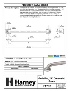 Product Data Specification Sheet Of A Bathroom Grab Bar, 24 In. X 1 1/2 In. - Satin Stainless Steel Finish - Product Number 71762