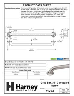Product Data Specification Sheet Of A Bathroom Grab Bar, 30 In. X 1 1/2 In. - Satin Stainless Steel Finish - Product Number 71763