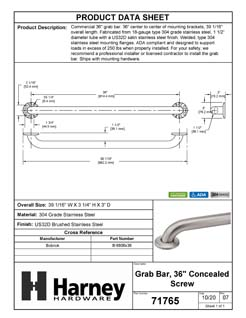 Product Data Specification Sheet Of A Bathroom Grab Bar, 36 In. X 1 1/2 In. - Satin Stainless Steel Finish - Product Number 71765