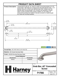 Product Data Specification Sheet Of A Bathroom Grab Bar, 42 In. X 1 1/2 In. - Satin Stainless Steel Finish - Product Number 71766