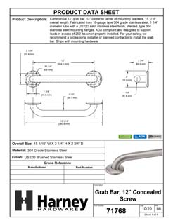 Product Data Specification Sheet Of A Bathroom Grab Bar, 12 In. X 1 1/4 In. - Satin Stainless Steel Finish - Product Number 71768