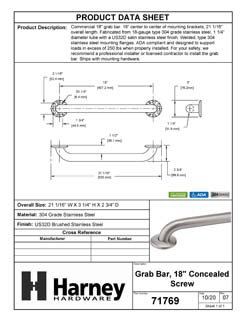 Product Data Specification Sheet Of A Bathroom Grab Bar, 18 In. X 1 1/4 In. - Satin Stainless Steel Finish - Product Number 71769