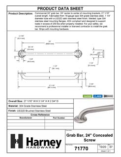 Product Data Specification Sheet Of A Bathroom Grab Bar, 24 In. X 1 1/4 In. - Satin Stainless Steel Finish - Product Number 71770