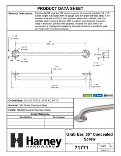 Product Data Specification Sheet Of A Bathroom Grab Bar, 30 In. X 1 1/4 In. - Satin Stainless Steel Finish - Product Number 71771