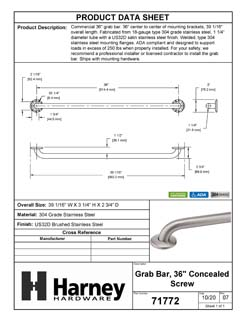 Product Data Specification Sheet Of A Bathroom Grab Bar, 36 In. X 1 1/4 In. - Satin Stainless Steel Finish - Product Number 71772