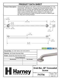 Product Data Specification Sheet Of A Bathroom Grab Bar, 48 In. X 1 1/4 In. - Satin Stainless Steel Finish - Product Number 71774