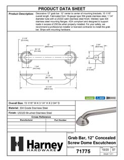 Product Data Specification Sheet Of A Bathroom Grab Bar, Decorative, Dome Escutcheon, 12 In. X 1 1/4 In. - Satin Stainless Steel Finish - Product Number 71775