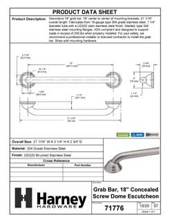 Product Data Specification Sheet Of A Bathroom Grab Bar, Decorative, 18 In. X 1 1/4 In. - Satin Stainless Steel Finish - Product Number 71776