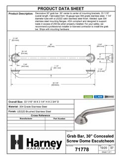 Product Data Specification Sheet Of A Bathroom Grab Bar, Decorative, 30 In. X 1 1/4 In. - Satin Stainless Steel Finish - Product Number 71778