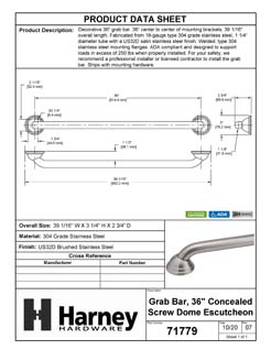 Product Data Specification Sheet Of A Bathroom Grab Bar, Decorative, 36 In. X 1 1/4 In. - Satin Stainless Steel Finish - Product Number 71779