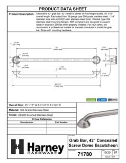 Product Data Specification Sheet Of A Bathroom Grab Bar, Decorative, Dome Escutcheon, 42 In. X 1 1/4 In. - Satin Stainless Steel Finish - Product Number 71780