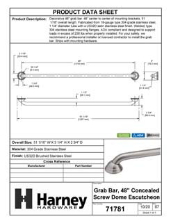 Product Data Specification Sheet Of A Bathroom Grab Bar, Decorative, Dome Escutcheon, 48 In. X 1 1/4 In. - Satin Stainless Steel Finish - Product Number 71781