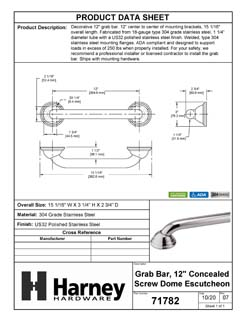 Product Data Specification Sheet Of A Bathroom Grab Bar, Decorative, 12 In. X 1 1/4 In. - Polished Stainless Steel Finish - Product Number 71782