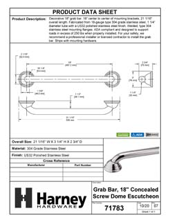 Product Data Specification Sheet Of A Bathroom Grab Bar, Decorative, 18 In. X 1 1/4 In. - Polished Stainless Steel Finish - Product Number 71783