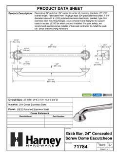 Product Data Specification Sheet Of A Bathroom Grab Bar, Decorative, 24 In. X 1 1/4 In. - Polished Stainless Steel Finish - Product Number 71784